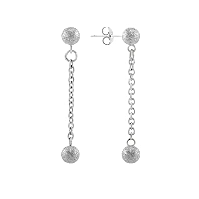 a47b76e42553b9 555Jewelry Womens Girls Stainless Steel Minimal Dainty Sparkly Trendy  Glitter Ball Stud Long Dangle Statement Chain