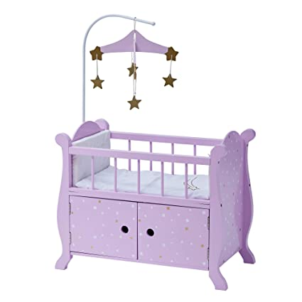 Olivia S Little World 18 Baby Wooden Doll Furniture Twinkle Stars Princess Nursery Crib Bed With Storage Cabinet Pruple