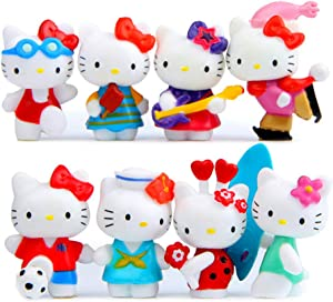 HYSTYLE 8 pcs Cute Animal Cat Characters Toys Kitty Figures Toy Set Mini Figure Collection Playset, Cake Topper, Plant, Automobile decoration