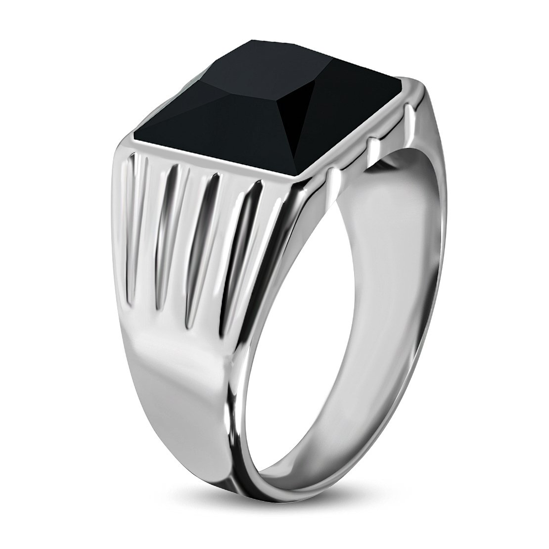 Stainless Steel Grooved Shank Bezel-Set Square Ring with Black Glass Stone