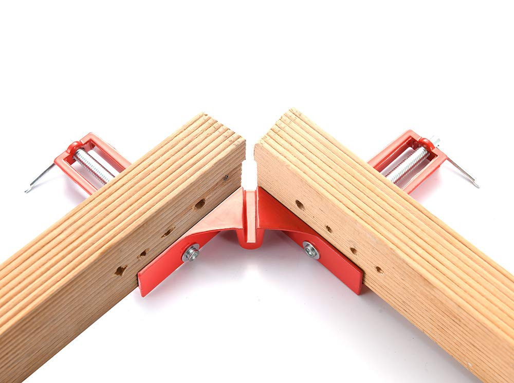 red Multifunctional Picture Framing Holder Woodworking Hand Tools Angle Clamp 4Pcs 90 Degree Right Angle Corner Holder Clamp HEWEGO