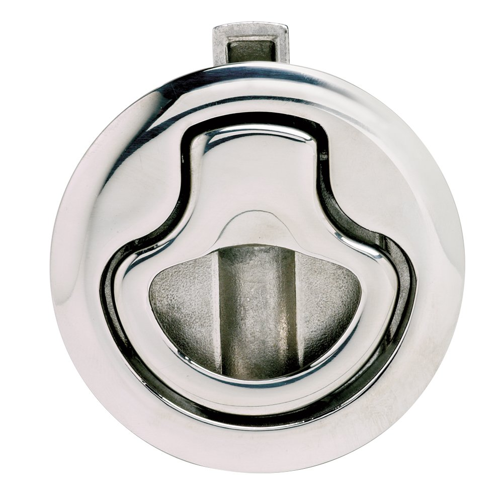 Southco M1-15-61-8 Series Electropolished Stainless Steel 316 Flush Pull Push-to-Close Latch, Non-Locking, 0.19''/0.35'' Panel Thickness, Bright