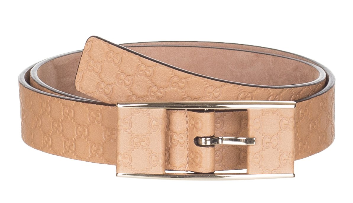 Gucci Women's Beige Thin GG Microguccissima Covered Buckle Leather Belt, 38, Beige
