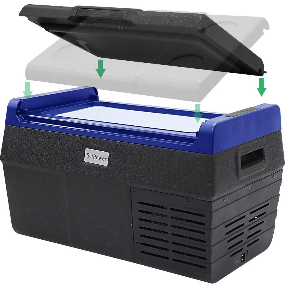 SetPower EA20 21 Quarts Portable Freezer Fridge 12V Cooler, -4℉ to 68℉, Car Fridge Compact Refrigerator, for Truck, Van, RV Road Trip, Outdoor, Camping, Picnic, BBQ (EA20-21 Quarts)
