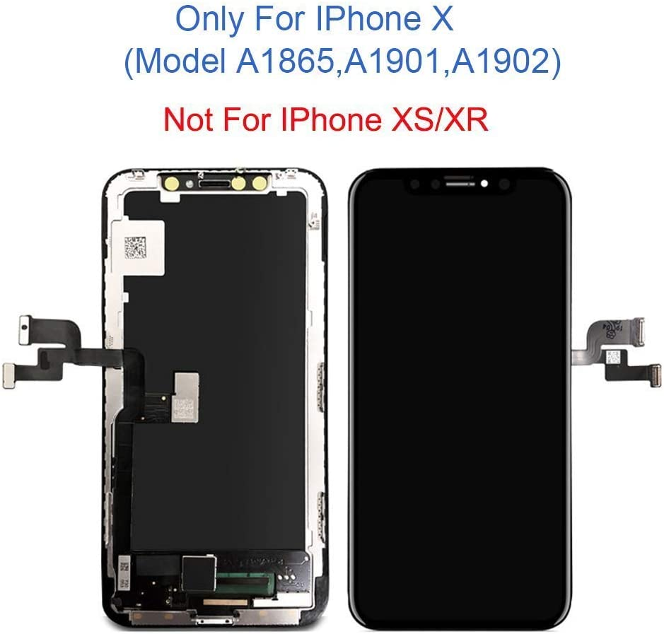 NOT OLCD for iPhone X LCD A1902 Compatible with Model A1865 A1901 3D Touch Display Digitizer Assembly with Repair Tools Screen Replacement 5.8 inch