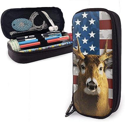 Estuche de lápices de piel de ciervo de cola blanca americana, Estuche de bolsa de lápices con soporte para bolígrafo con cremallera Estuche estacionario de cuero de nanoprint: Amazon.es: Oficina y papelería