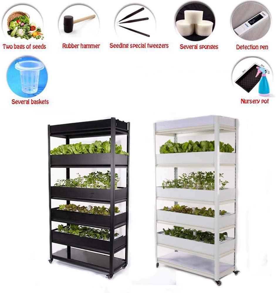 CRZJ Máquina de Cultivo de Vegetales Inteligente, Equipo hidropónico para el hogar, Caja de automatización de Plantas de Cultivo sin Costuras, Estante Multicapa,Negro