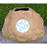 Homebrite Solar Power Jumbo Sandstone Rock Spot Lights - Set of 3 by Homebrite