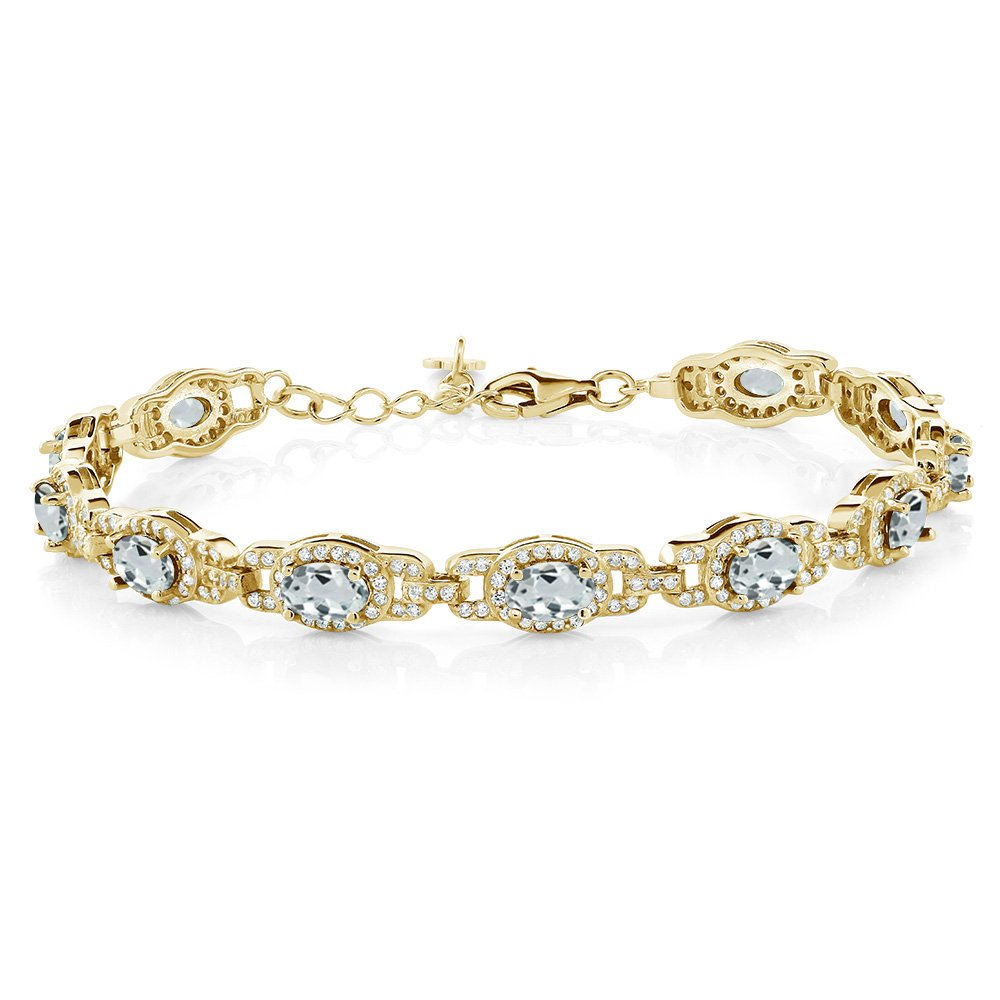 8.33 Ct Sky Blue Aquamarine 18K Yellow Gold Plated Silver 7 Inch Bracelet With 1 Inch Extender