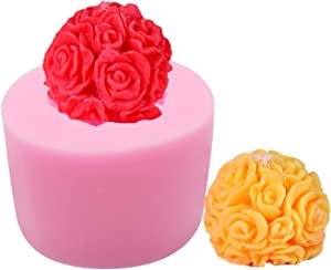 HengKe 3D Flower Ball Candy Mold Candle Molds, Food Grade & BPA Free, Cake Decorating Silicone Jello Sugar Chocolate Fondant Molds for Lotion Bar, Bath Bomb, Wax Crayon, Polymer Paper Fimo Clay