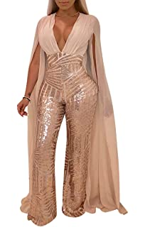 5efb0faff9e Sunyastor Women Sparkly Sequins Lace up Backless O-Neck Sleeveless Bodycon  Long Jumpsuit Off Shoulder Romper…  7.32 -  12.57 · Chicmay Women Sequins  ...