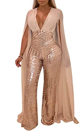9f81ee8f9c8 Amazon.com  Chicmay Women Sequins Jumpsuit Mesh Sheer Split Floor Length  Sleeve Plunge V Neck Backless Flare Pants Romper Clubwear  Clothing
