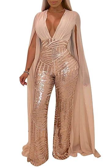 ece081c93f Chicmay Women Sequins Jumpsuit Mesh Sheer Split Floor Length Sleeve Plunge  V Neck Backless Flare Pants Romper Clubwear