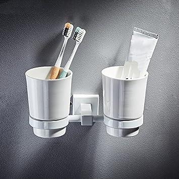 KIEYY Todo El Cobre Blanco De Toallas De Baño Baño Hotel Bastidores De Toallas De Baño Para Establecer El Elemento De Hardware, El Soporte Del Cepillo: ...
