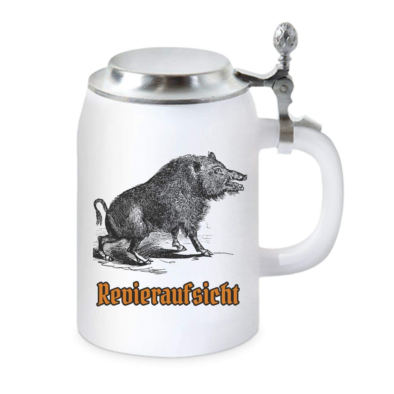 Revieraufsicht Wildschwein Jagdt und J/äger KMC-Austria Design Bierkrug mit Zinndeckel