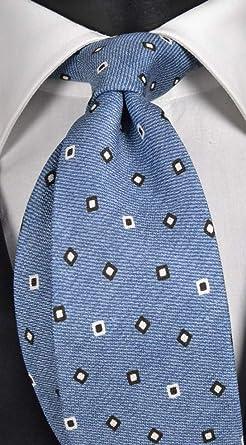 Corbata de hombre de seda y algodón celeste con micro fantasía ...