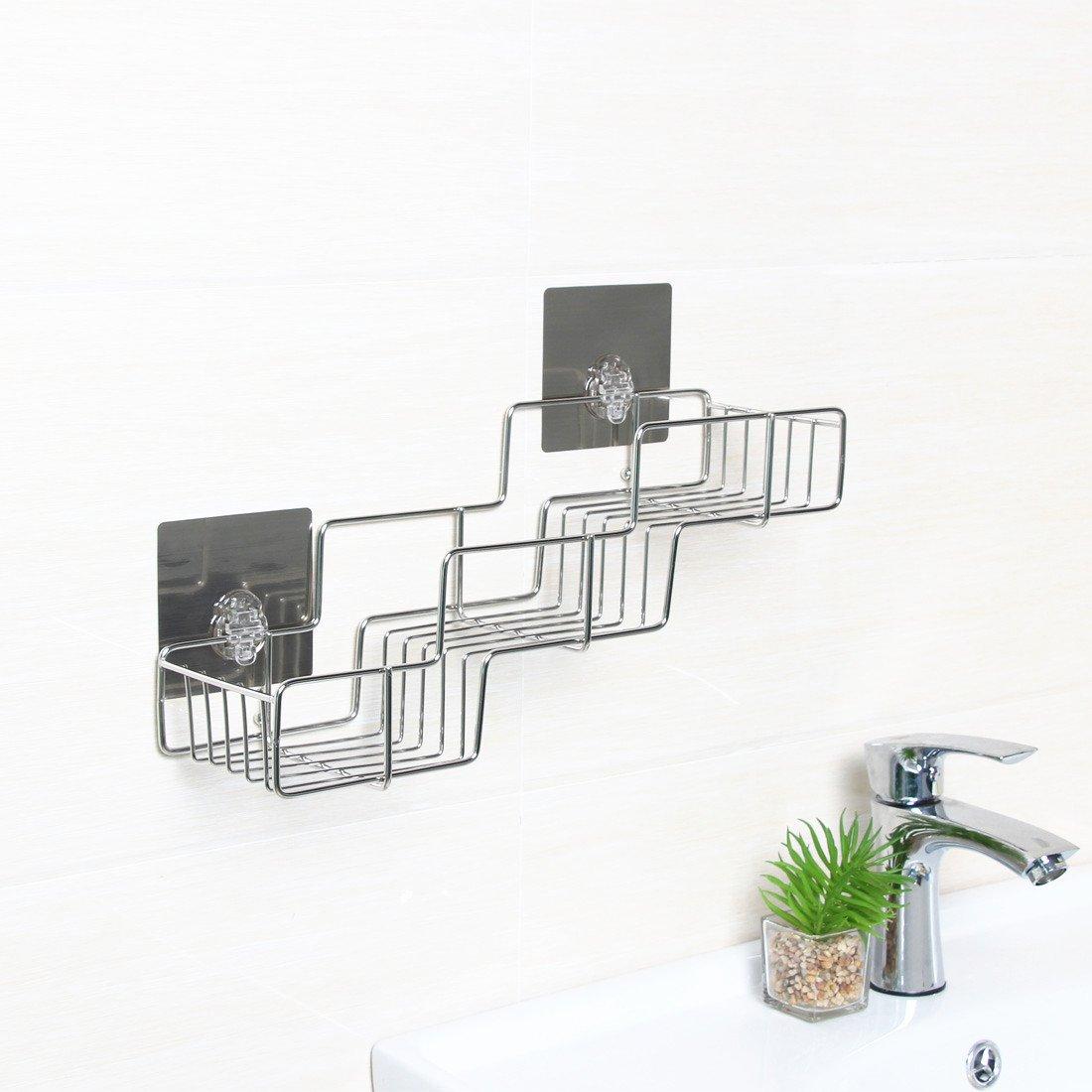 stainless steel bathroom shelves. Stainless Steel Shelf Organizer, Rerii Self Adhesive Bathroom Shower Rack Organizer For Shampoo, Kitchen Condiment Shelves E