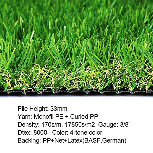 Household Decor Realistic Deluxe Artificial Grass Synthetic Thick Lawn Turf Carpet -Perfect for Indoor/Outdoor Landscape (7 FT x 13 FT- 91 Square FT)