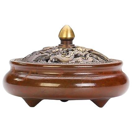 BTMjjuiju Quemador de Incienso de Cobre Puro Hogar Ceremonia Interior Adoración de Buda Estufa de aromaterapia