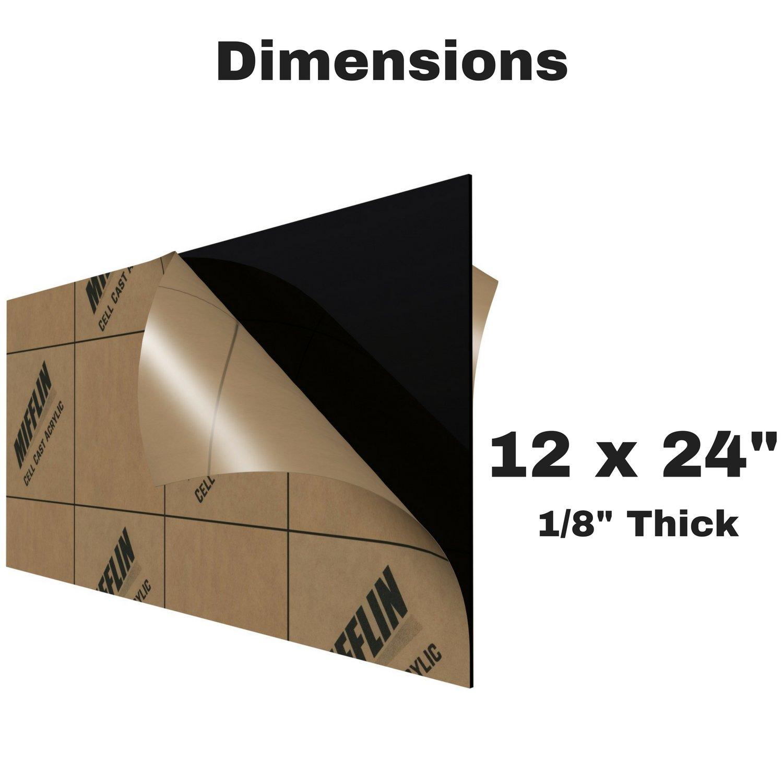 fc8ac0381 MIFFLIN Cast Plexiglass Sheet (Opaque Black, 1 Piece, 12x24 inch, 0.118