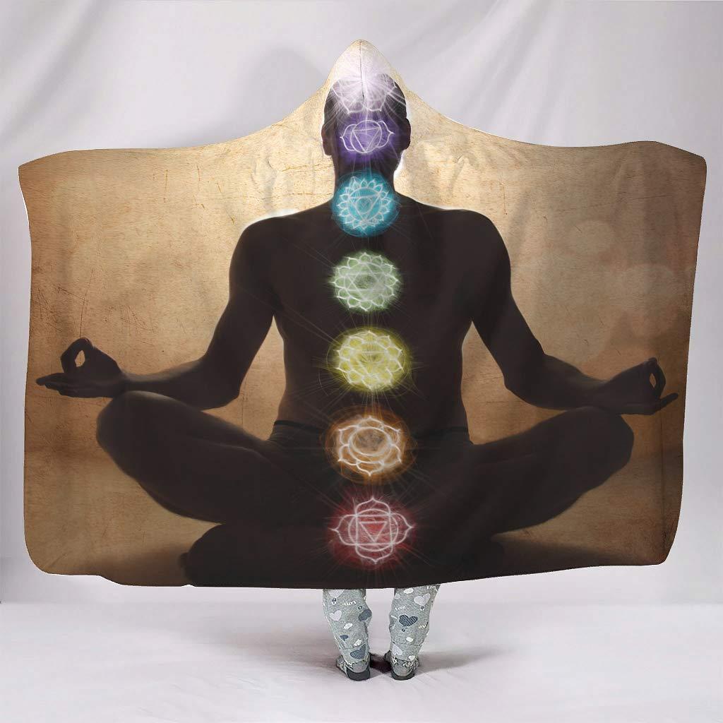 150 x 200 cm con Stampa chakren Mandala Arcobaleno Motivo Indiano STBlanketshop Meditazione Ideale per Yoga con Luce Solare Coperta in Pile con Cappuccio Bianco Loto