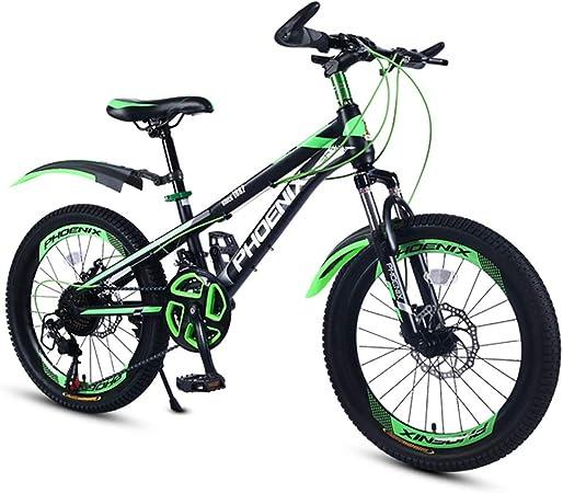 YAOXI 20 Pulgadas Bicicleta De Montaña con Absorción De Choque La Horquilla De Suspensión, Marco Fuera Acero Al Carbono 21 Velocidades Doble Freno De Disco Bicicleta para Niños,Black/Green: Amazon.es: Hogar
