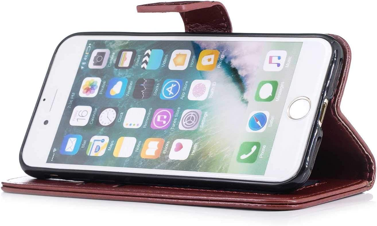CUSKING Case for Apple iPhone 7 Classic Leather Magnetic Flip Embossed Design Wallet Cover with Hand Strap and Magnetic Closure Rose Gold iPhone 8