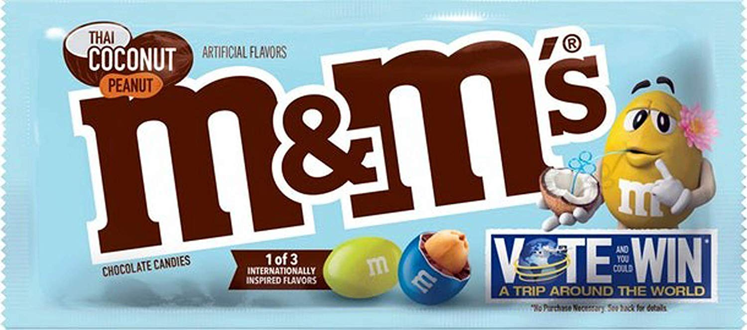 M&M's Thai Coconut Peanut Chocolate Candies Single Size 1.74 Ounce - 24 Count by M&M'S