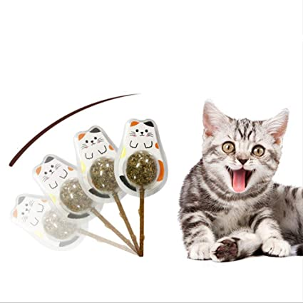 Cat Teething Chew Toys-Cat Lollipops Organic Silvervine Mint Balls Cute  Lollipop with One Bag e49b30a9eae0