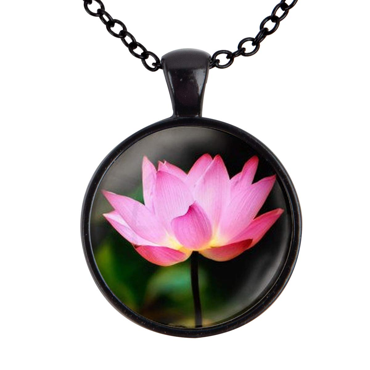 Family Decor Pink Lotus Art Pendant Necklace Cabochon Glass Vintage Bronze Chain Necklace Jewelry Handmade