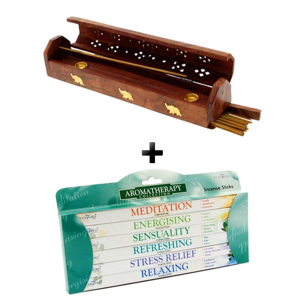 Stamford Incense Sticks with Handmade Wooden Incense Stick Holder - Bundle (Aromatherapy)