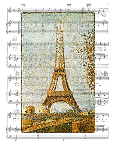 8x10 Georges Seurat, Eiffel Tower, Paris, France - 1889, Fine Art Print, Overlaid on Edith Piaf's La Vie En Rose Sheet Music Artwork. Seurat Poster Print. Size 8x10 Inches (SRTEiffel810)
