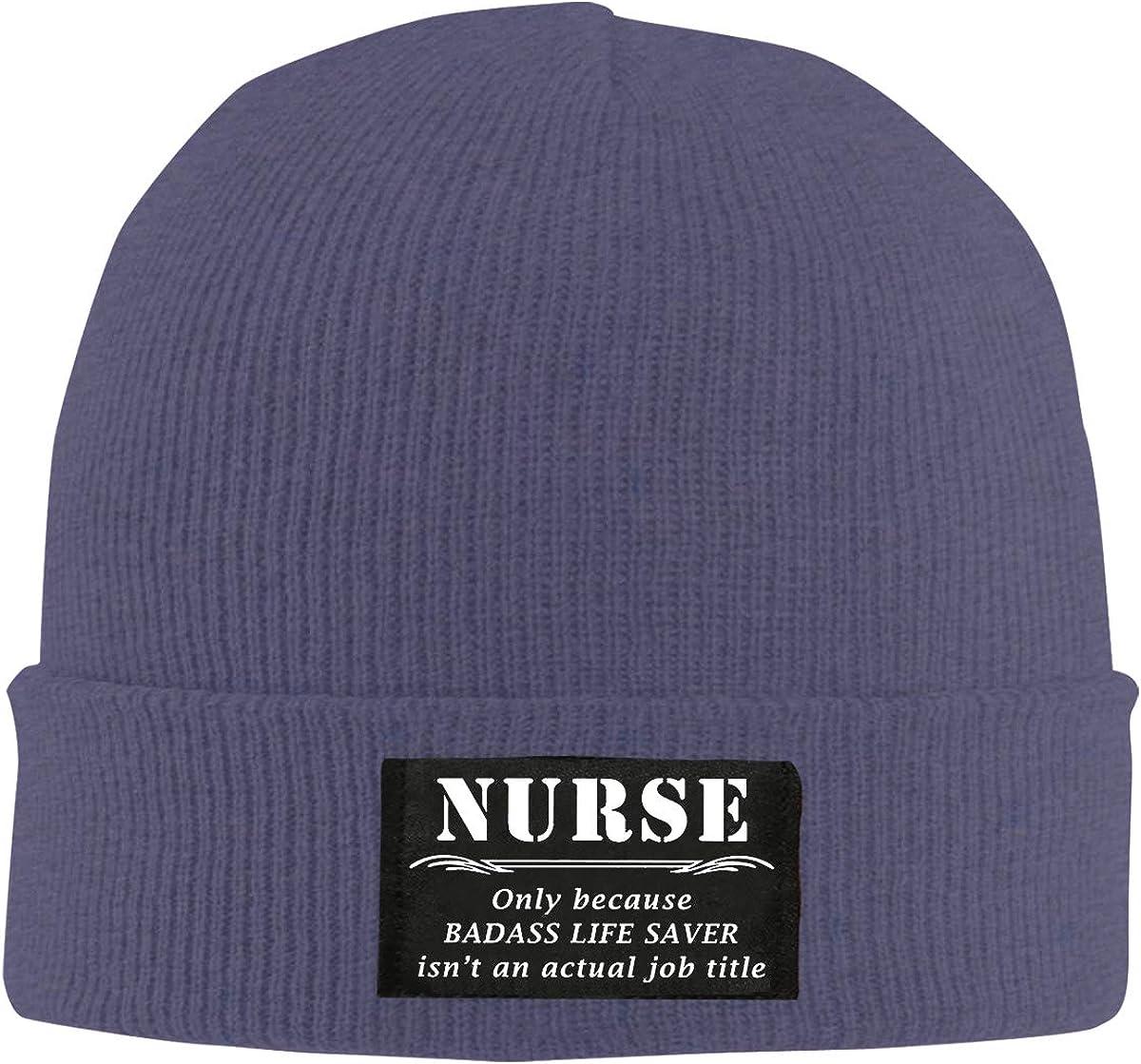 Men Women Nurse Only Because My Real Job Title Skull Hat Beanie Cap Winter Knit Hat Cap