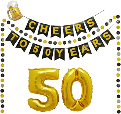 6 Hanging Swirls 50th Birthday Decorations 6 Paper Garland Black Gold Anniversary Party Decorations Kit for Men and Women Number 50 Gold Balloon,15 Balloons Cheers to 50 Years Banner Cake Topper
