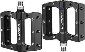 Puroma Mountain Bike Pedal Nylon Fiber Non-Slip 9/16 Inch Bicycle Platform Flat Pedals for Road Mountain BMX MTB Bike