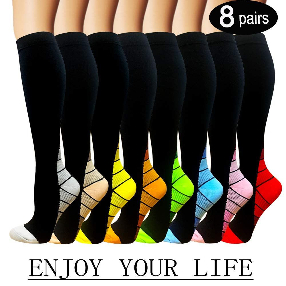 7 Pack Copper Knee High Compression Socks For Men & Women-Best For Running,Athletic,Medical,Pregnancy and Travel -15-20mmHg (L/XL, 8 Pairs Multicoloured 2)