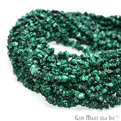 1 Strand (34inches) of Real Natural Malachite Gemstone Chips Beads. Green Color, Wholesale Price. Prepared Exclusively by GemMartUSA. - Green Malachite Chip