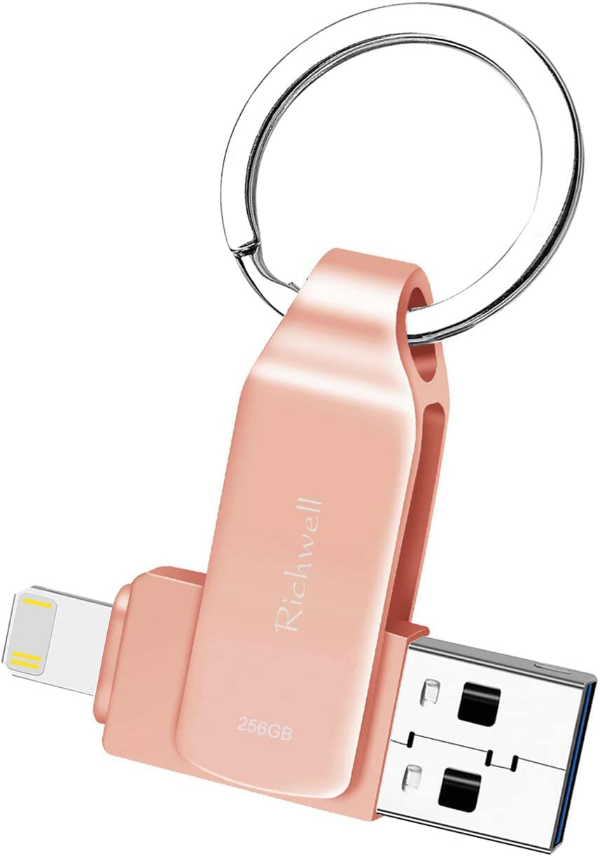 USB 128GB Memory Stick for iPhone Flash Drive USB3.0 Photo Stick for iPad Thumb Drive 3in1 External Drive Richwell for Apple iPhone iPad iOS Mac Android and PC(03Pink128G)