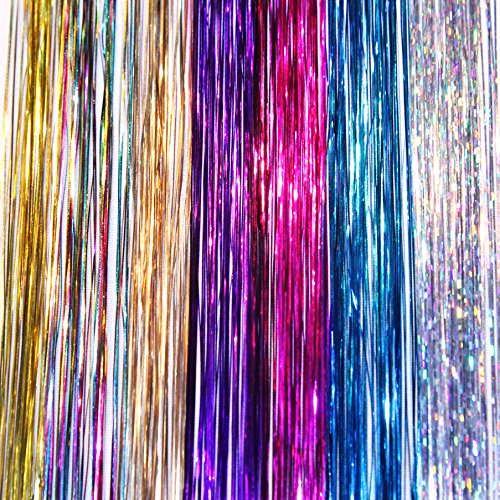 """20"""" Hair Tinsel 175 Strands Seven Colors (Sparkling Silver, Purple, Rainbow, Hot Pink, Gold, White Gold, Blue) With Bonus"""
