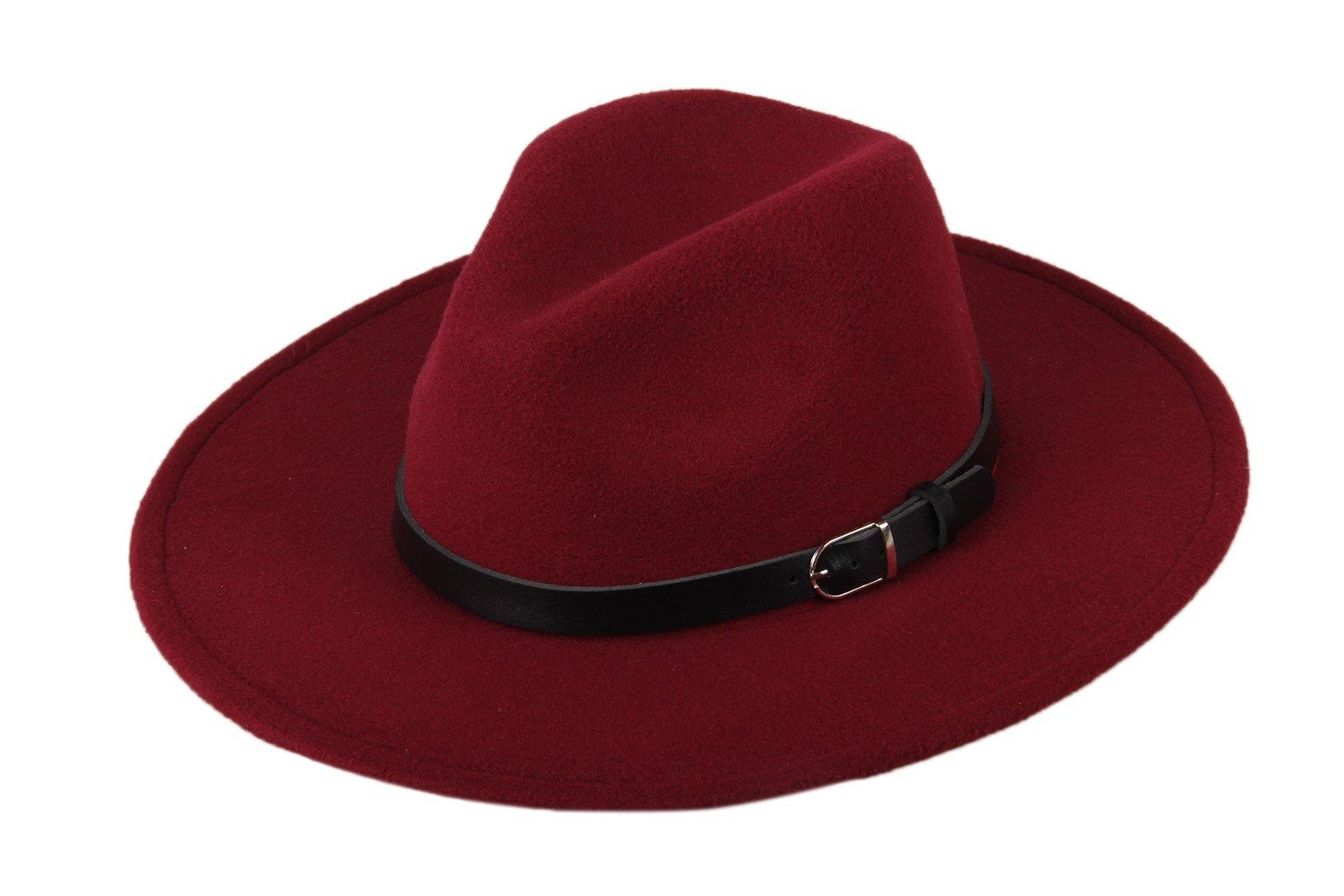 Dantiya Women'/s Wide Brim Wool Fedora Panama Hat with Belt Wine Red, One Size