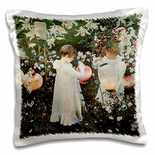 3dRose pc_126515_1 Carnation, Lily, Lily, Rose x John Singer Sargent Little Girls In A Garden Pillow Case, 16 x ()