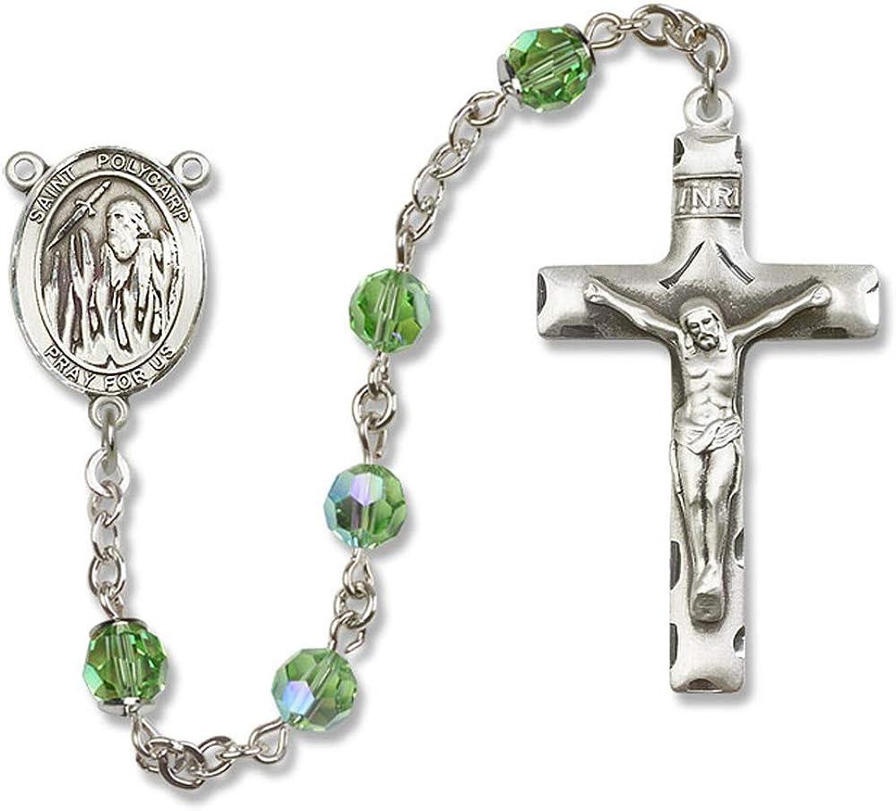 Austrian Tin Cut Aurora Borealis Beads Polycarp of Smyrna Center. 6mm Swarovski St All Sterling Silver Rosary with Peridot