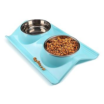 Tazones de acero inoxidable para mascotas de Miaosun, ideales para perros y gatos; con diseño antideslizante y antiderrame, dos tazones; ...