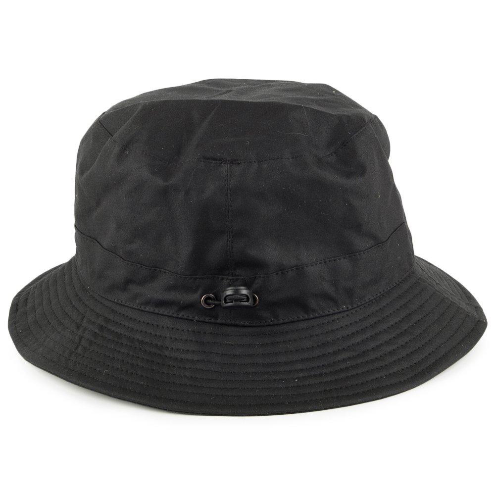 e8f21b30180 Jaxon   James Packable Water Resistant Waxed Cotton Bucket Hat - Black  Medium  Amazon.co.uk  Clothing