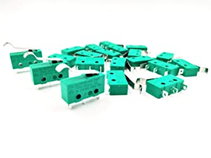 Jhe 20 Pcs KW4 3Z 3 Micro Limit Switch 3 Pin 5A 125V Hinge Lever Switch for CNC Mill