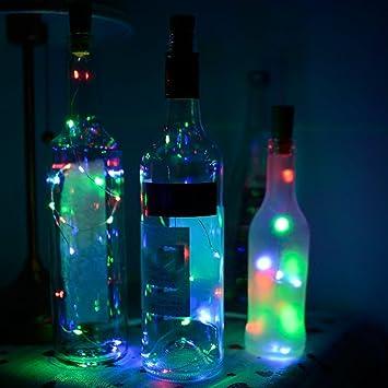 Tira de 1 m con 8 LED solares por A-SZCXTOP, perfecta para decorar botellas de vino y hacer manualidades: Amazon.es: Hogar