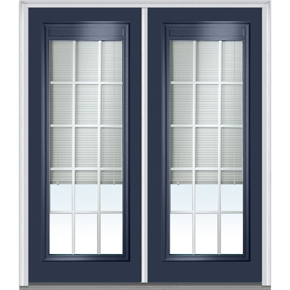 Clear Low-E Glass with RLB and GBG 72 x 80 National Door Company Z010548R Steel Naval Right Hand In-swing Full Lite Prehung Door