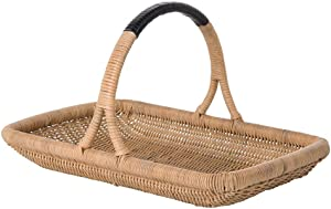 Kouboo Vegetable and Flower Wicker Leather Wrapped Arch Handle, Natural Color Decorative Storage Basket, One Size, Brown