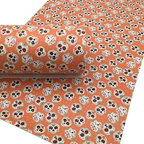 Skulls 8x11 Faux Leather Halloween A4 Vinyl Fabric Sheet Earrings DIY DIY Hair Bows Day of the Dead Faux Leather Sheets