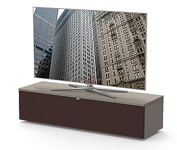 Premium TV- Möbel, Lowboard, Maße: 130x32.5x40cm, inkl. Akustikstofffront,  Abnehmbare Rückwände, Made in Germany, einfache Montage, Farbe: ...